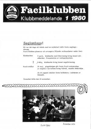 Klubbmeddelande 1980 Nr 1